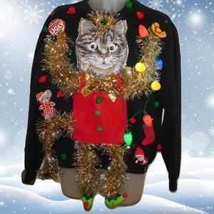 The Mother of All UGLY CHRISTMAS CAT SWEATERS L 46